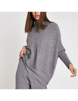 Grey Rib Knit High Neck Long Sleeve Sweater by River Island