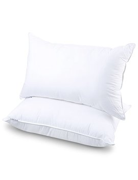 Langria Luxury Hotel Collection Bed Pillows Plush Down Alternative Sleeping Pillow 100 Percents Cotton Cover Soft Comfortable Hypoallergenic Dust Mite Resistant Queen 20 X 30 (2 Pack) by Langria