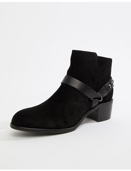 Hudson London Black Suede Western Ankle Boots by Boots