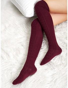 Plain Over The Knee Socks by Sheinside