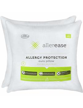 Aller Ease Cotton Allergy Protection Hypoallergenic Euro Pillow, 3 Year Warranty, Machine Washable (Pack Of 2) (Certified Refurbished) by Aller Ease