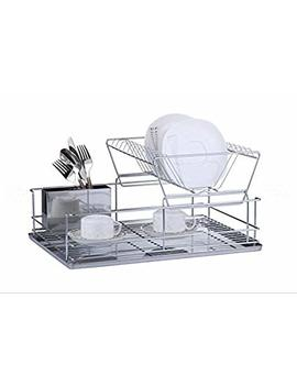 Luxury Stainless Steel Galvanized 2 Tier Dish Drainer (Steel) by Furniture Xtra