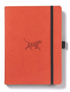 Dingbats Wildlife Medium A5+ (6.3 X 8.5) Hardcover Notebook   Pu Leather, Micro Perforated 100gsm Cream Pages, Inner Pocket, Elastic Closure, Pen Holder, Bookmark (Dot Grid, Orange Tiger) by Dingbats*