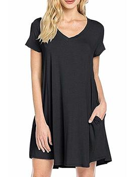 Yming Women's Simple Short Sleeve Basic Casual Loose T Shirt Dress S 4 Xl by Amazon