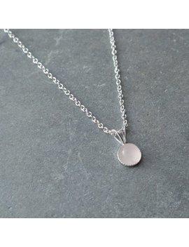 Rose Quartz Pendant, Sterling Silver Pendant, Rose Quartz  Necklace, Dainty Rose Quartz Pendant, Sterling Silver Gemstone Necklace by Etsy