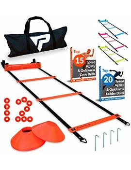 Pro Agility Ladder Cones   15 Ft Fixed Rung Speed Ladder 12 Disc Cones Soccer, Football, Sports Training   Includes Heavy Duty Carry Bag, 4 Metal Stakes Top 20 Agility Drills E Book by Profect Sports