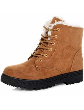 Deco Stain Women's Fashion Winter Soft Short Plush Boots Classic Retro Keep Warm Durable Shoes Platform Snow Boots by Amazon