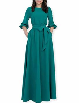 Aooksmery Women Elegance Audrey Hepburn Style Round Neck 3/4 Puff Sleeve Puffy Swing Midi Dress With Belt by Aooksmery