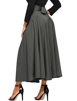 Asvivid Women's High Waist Pleated A Line Long Skirt Front Slit Belted Maxi Skirt S Xxl by Asvivid