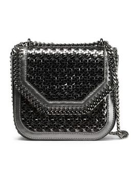 Chain Trimmed Metallic Woven Faux Leather Shoulder Bag by Stella Mc Cartney