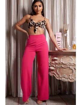 Lilly Pink Wide Leg Flared Trousers by Misspap