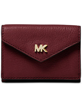 Shiny Leather Trifold Flap Wallet by Michael Michael Kors