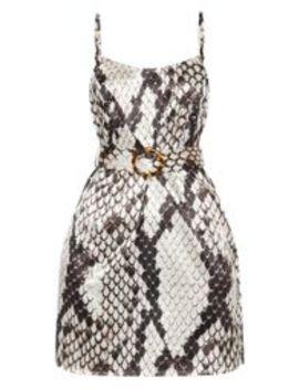 Grey Satin Snake Print Tortoiseshell Belt Shift Dress by Prettylittlething