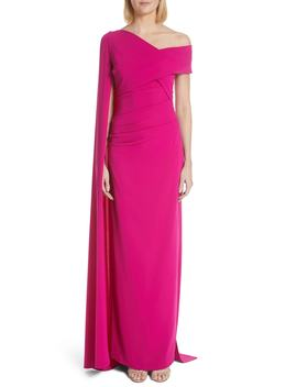 Cape Stretch Crepe Gown by Talbot Runhof