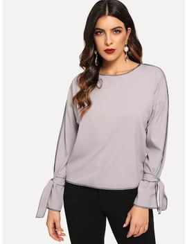 Knot Sleeve Stitch Detail Drop Shoulder Blouse by Sheinside