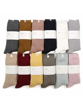 Mirmaru Women's Everyday 4 Pairs Solid Colors Cotton Blend Casual Crew Socks. by Mirmaru