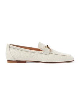 带缀饰仿鳄鱼纹皮革乐福鞋 by Tod's