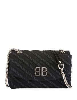 Bb Chain Destroyed Denim Crossbody Bag by Balenciaga