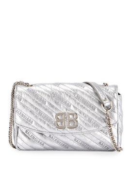 Bb Chain Metallic Logo Crossbody Bag by Balenciaga