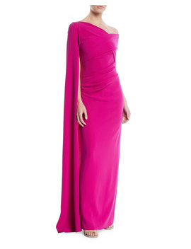 Rosedale One Shoulder Draped Evening Gown W/ Draped Sleeve by Talbot Runhof