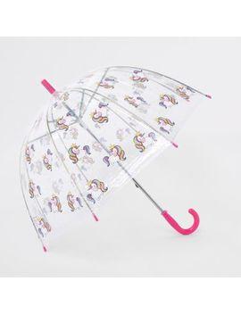 Girls Pink Unicorn Umbrella by River Island