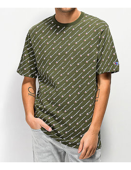 Champion Heritage Allover Script Green T Shirt by Champion