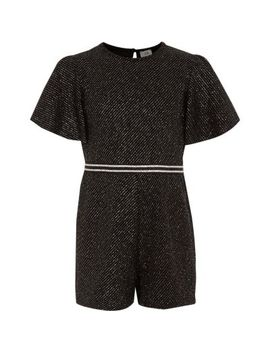 Girls Black Sparkly Playsuit by River Island