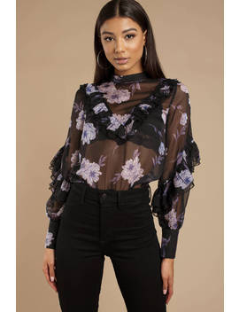 Miranda Black Multi Floral & Lace Ruffle Puff Sleeve Blouse by Tobi