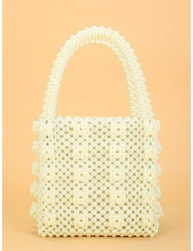 Faux Pearl Beaded Tote Bag by Shein