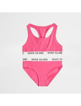Girls Bright Pink Racer Crop And Briefs Set by River Island