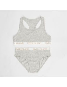 Girls Grey Racer Crop Top And Briefs Set by River Island