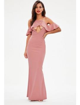 Pink Strappy Frill Detail Maxi Dress by Missguided