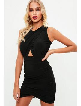 Black Cross From Slinky Keyhole Dress by Missguided