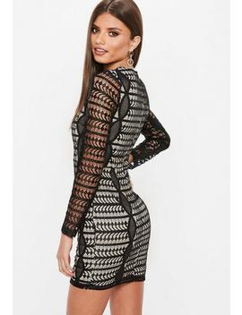 Black Lace Round Neck Long Sleeve Bodycon Dress by Missguided