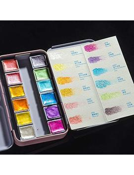 Paul Rubens Artist Watercolor Paints Glitter Solid Colors Pink Portable Metal Case With Palette 24 Color Set by Paul Rubens