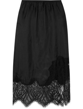 Lace Trimmed Satin Midi Skirt by Helmut Lang