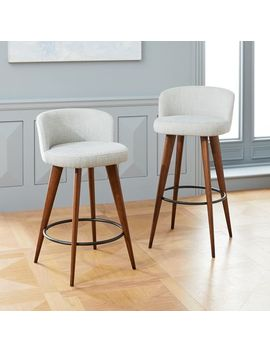 Abrazo Counter Stool, Basket Slub, Feather Gray, Pecan by West Elm