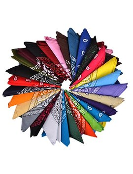 100 Percents Cotton Bandanas, Alotpower Multipurpose Paisley Printing Cowboy Bandana Headbands Handkerchiefs Necktie by Alotpower