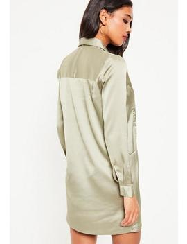 Green V Neck Satin Collar Shift Dress by Missguided