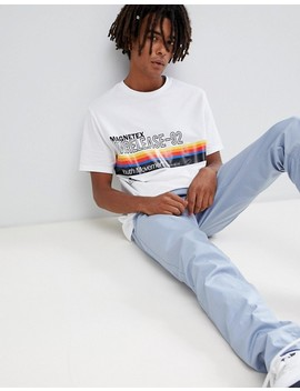 Asos Design Relaxed T Shirt With Rainbow Stripe And Text Print by Asos Design
