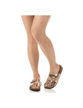 Soho Shoes Women's Double Buckled Cork Footbed Slide Sandal by Soho Shoes