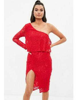 Red Lace One Shoulder Midi Dress by Missguided