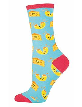 "Socksmith Womens Novelty Crew Socks ""Mac N Cheese"" ,Bright Blue,One Size Fits Most by Socksmith"