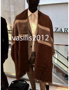 Zara Man Poncho With Wide Stripe Brown One Size M Ref. 6247/315 by Zara