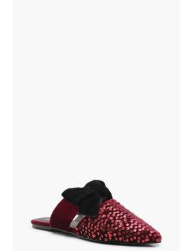 Velvet Sequin Pointed Bow Mules by Boohoo