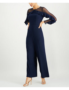 Petite Illusion Ruffle Jumpsuit by R & M Richards