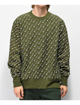 Champion Reverse Weave All Over Print Green Crew Neck Sweatshirt by Champion