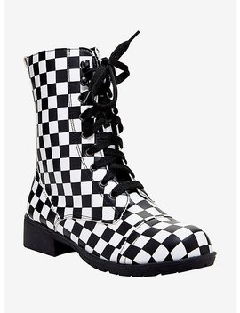 Black &Amp; White Checkered Combat Boots by Hot Topic