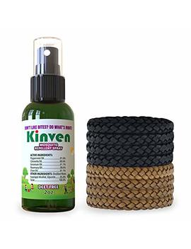 Kinven Anti Mosquito Repellent Bundle   Mosquito Repellent Bracelet & Insect Spray, Waterproof, Natural, Deet Free, Indoor & Outdoor Protection (2oz Spray Bottle + 8 Bracelets, Brown/Black) by Kinven