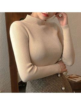 Chuu   Mock Neck Slim Fit Rib Knit Top by Chuu